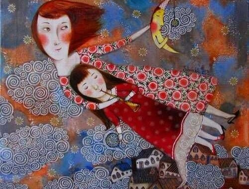 pintura de uma mãe com sua filha no colo ensinando-a a tocar flauta
