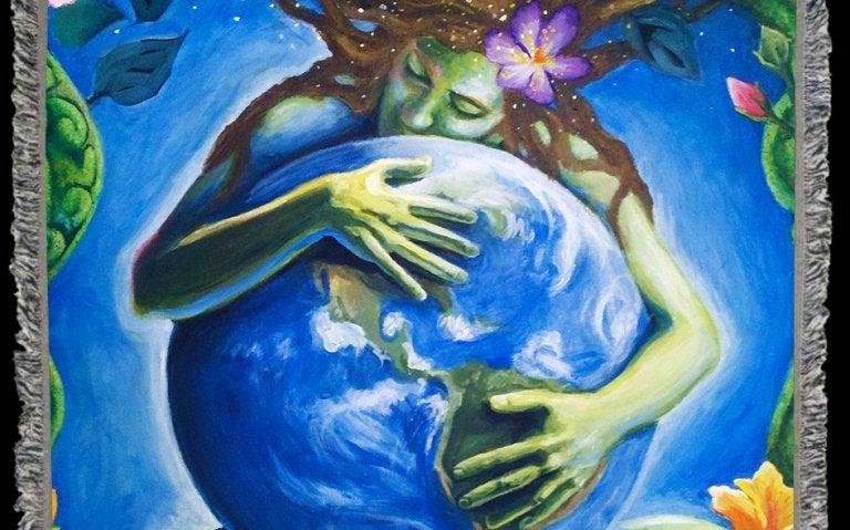mãe abraçando um globo