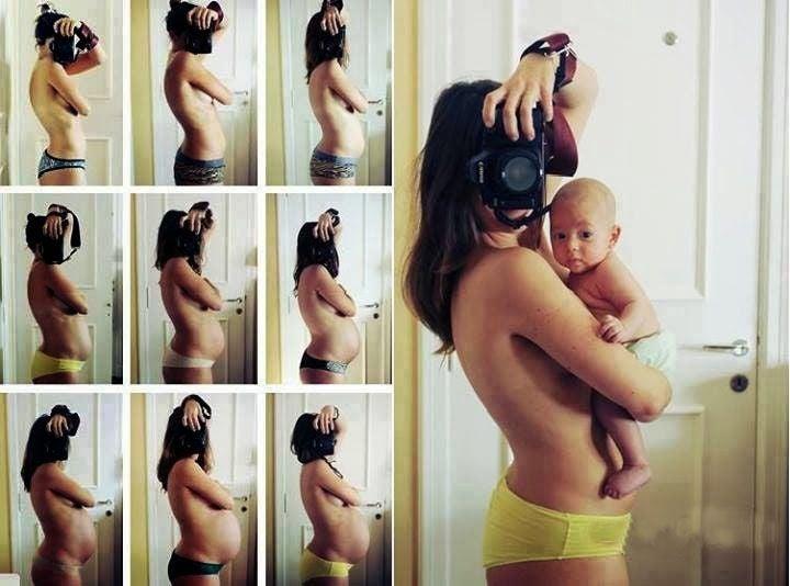 mãe tirando fotos em diversas fases da gravidez