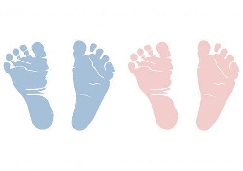 pés de bebês azuis e rosas