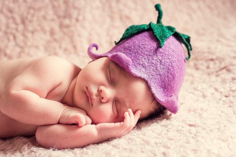 recém-nascido dormindo com uma flor na cabeça