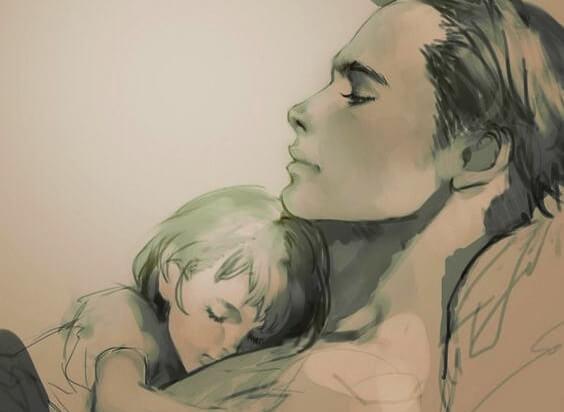 mãe deitada com sua filha dormindo sobre seu peito