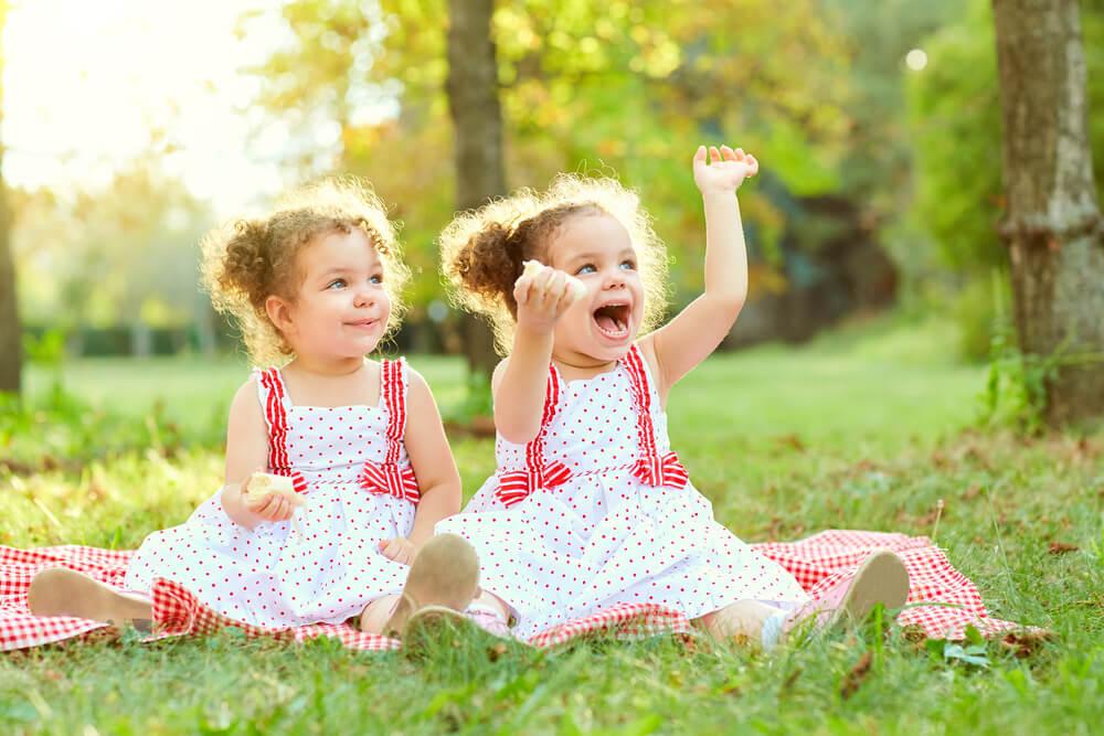 Irmãos gêmeos brincando juntos no campo