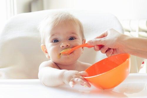 bebê sendo alimentado com alimentos sólidos