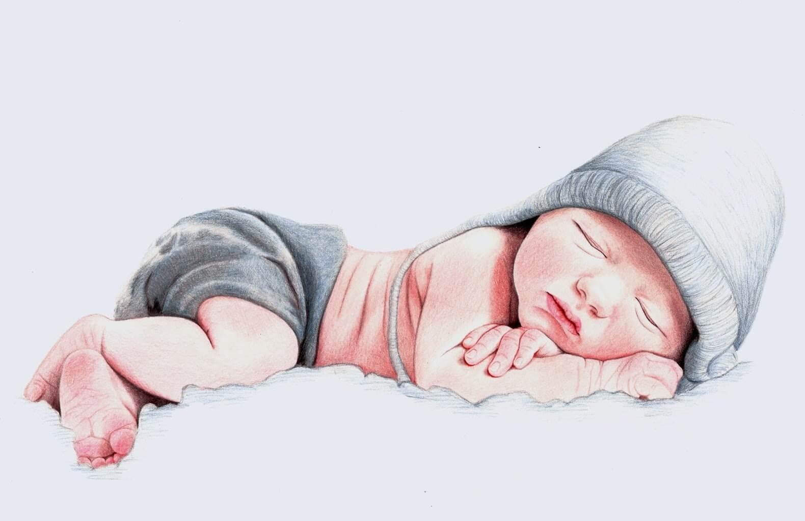 bebê dormindo sobre as nuvens