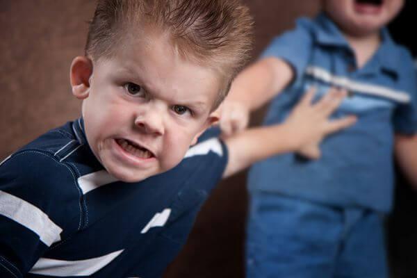 menino empurrando outro com muita raiva