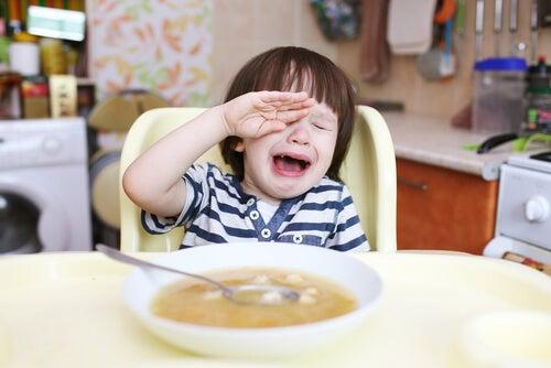 menino diante de um prato de comida tendo ataques de birra