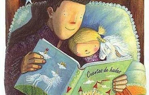 Pai e filha lendo histórias para dormir