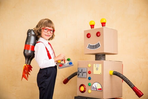 menino brincando de cientista