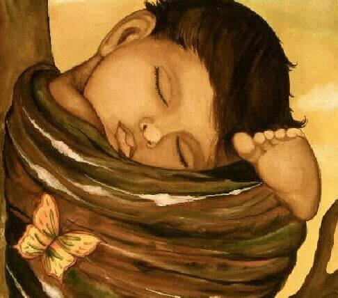 bebê dormindo e o boa noite aos filhos