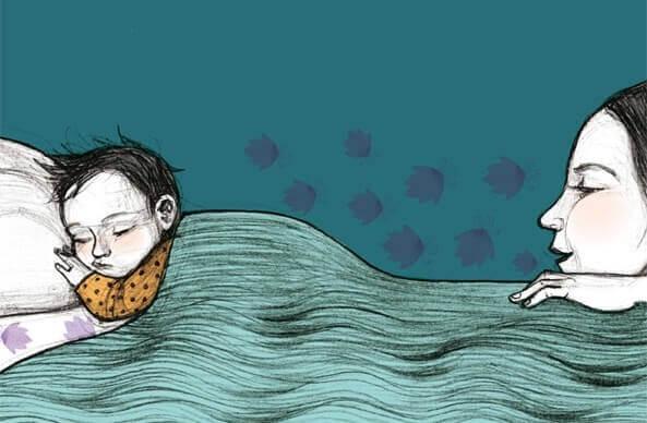 mãe observando filho dormir ao dar boa noite