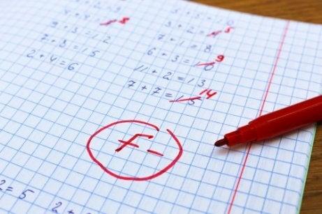 nota baixa em matemática