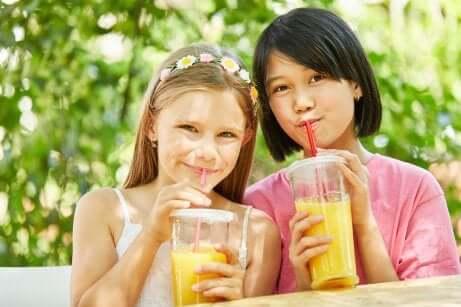 Mitos sobre as frutas: meninas tomando suco de frutas