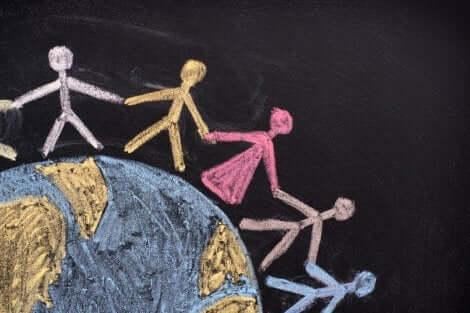 Educar as crianças na convivência: representação de crianças de mãos dadas