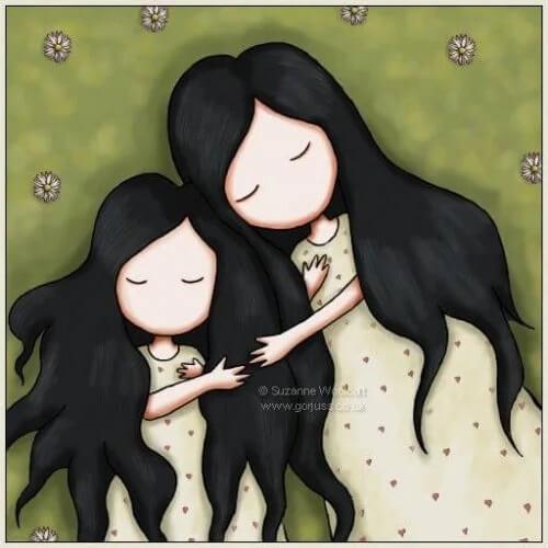 Carinho entre mãe e filha