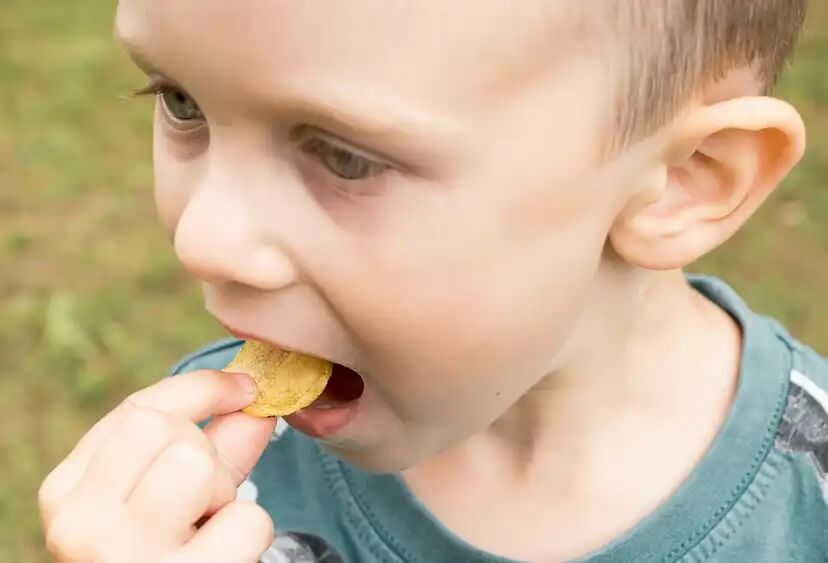 Criança comendo batatinhas com muito sal.