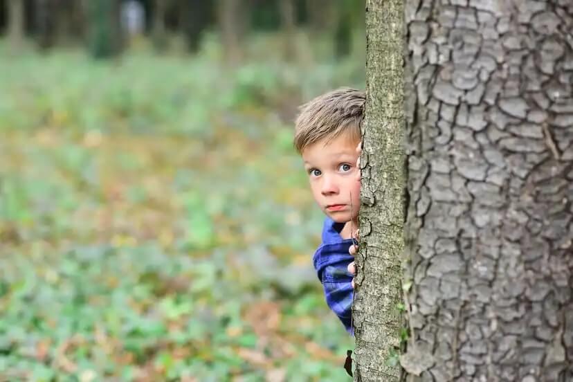 Menino se escondendo atrás de uma árvore devido aos seus medos evolutivos.