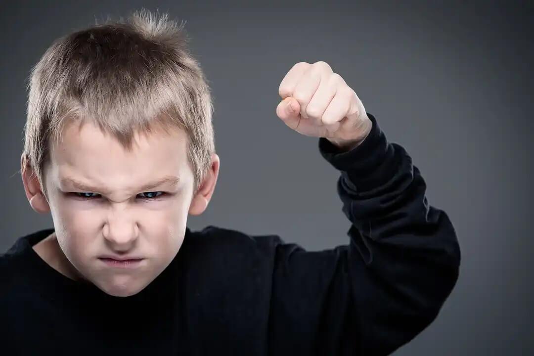 Criança com o punho erguido pronta para bater porque se tornou agressiva.
